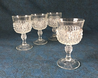 Vintage Indiana Glass Diamond Point Wine Glasses, Set of 4