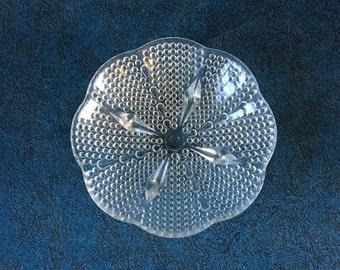 Vintage Thousand Eyes Hobnail Candy Dish, Stippled Glass