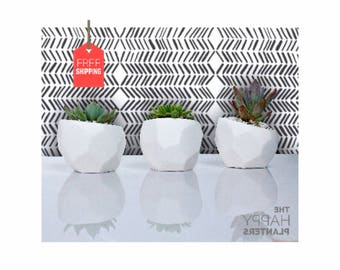 Geometric Vase, Gift for her, White, Minimal Planter , Cactus Pot, Modern Planter, Cactus Planter, Mini Cactus Plant Pot, Succulent Planter