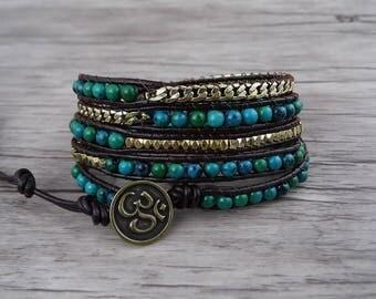 Chrysocolla beads bracelet boho bracelet Gold chain wrap bracelet green bead bracelet 5 wraps bracelet leather wrap bracelet Jewelry SL-0540
