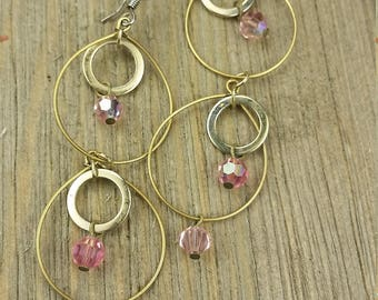 Vintage Gold Plated Pink Earrings