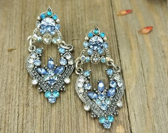 Vintage Blue Rhinestone Chandelier/ Cluster Earrings