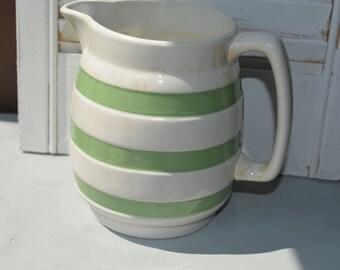 Carrigaline Striped pottery jug, large size, mint green striped, 1 1/2 pint, Ireland Cork, Irish serving jug, vintage kitchen decor