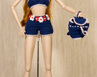 Barbie clothes Barbie crochet Handmade summer flower Set