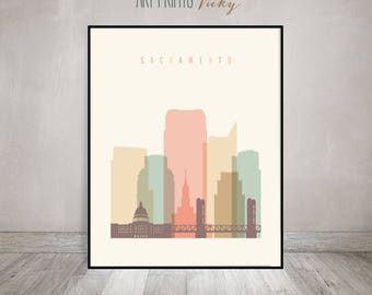 Sacramento print, Poster, Wall art, Sacramento skyline, California, City poster, Typography art, Gift, Home Decor, art prints ArtPrintsVicky