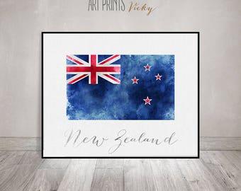 New Zealand flag print, New Zealand art poster, watercolor, Wall art, watercolor flag, typography, office decor, Home Decor, ArtPrintsVicky