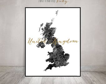 Great Britain watercolor map, Black and white, Print, Poster, Wall art, UK map poster, United Kingdom, England,faux gold text ArtPrintsVicky