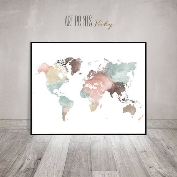 World map art print pastel watercolor travel map large world te gusta este artculo gumiabroncs Image collections