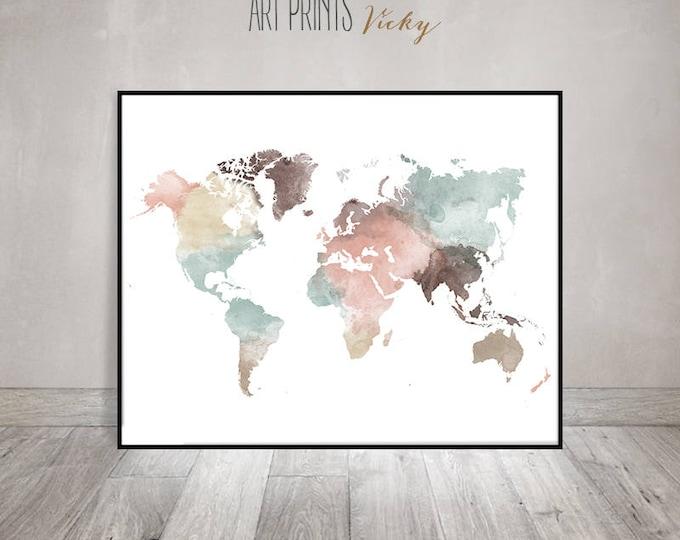 world map print in pastel colours    ArtPrintsVicky.com
