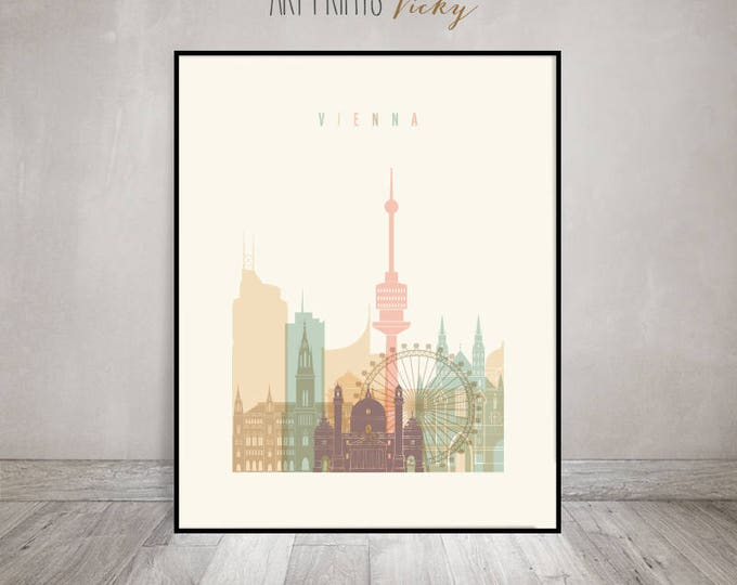 Vienna Wall art, Vienna art print, Poster, Vienna skyline, Austria, Wall decor, City print, Gift, Home Decor, Travel, ArtPrintsVicky