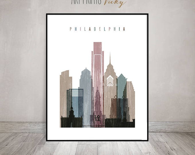 Philadelphia art print, Philadelphia skyline art, poster, Travel gift, Distressed Wall art, City print, Home Decor, ArtPrintsVicky.