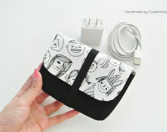 Kids Party Charger & Cable Storage, Cellphone Charger Holder, USB Cable Case, Traveller Gadget Organizer, Cable Holder - Made to Order