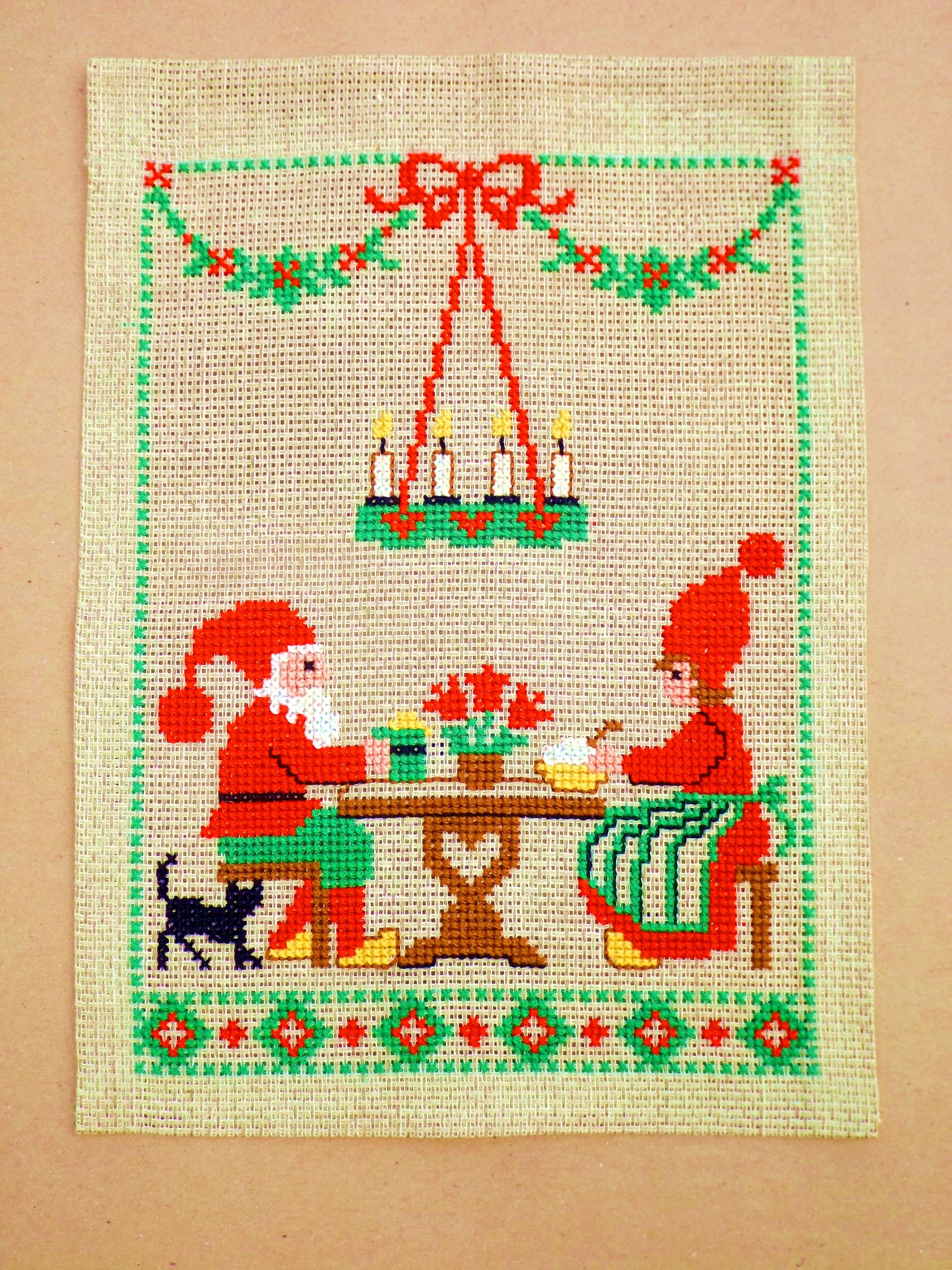 Embroidered Wall Hanging Swedish Christmas Wall Decor Mr Mrs