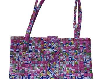 Recycled juice box rectangular handwoven bag