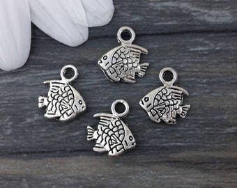 Fish Charms, Reef Fish, 10 or 20 Pcs, Antique Silver, Double Sided, Bracelet Charms, Ocean Charms, Sea Animal, CH131