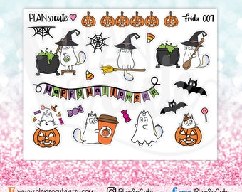Frida Halloween Stickers, Caticorn Stickers, Planner Stickers -007