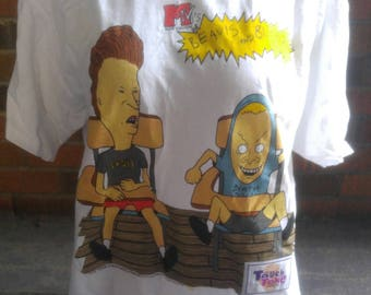 Authentic 1997 mtv BEAVIS and BUTT-HEAD  death rock and skull  Mike Judge t-shirt size Large.
