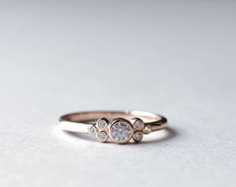 14k Rose Gold Bezel Cluster Ring, Bezel Ring, Dainty Ring, Minimalist Ring, Rose and Choc, 925 Sterling Silver Ring, Cluster Ring