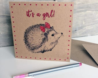 New Baby Girl Card, hedgehog with pink bow illustrated congratulations greetings card for new parents, grandparents. Recycled square card UK