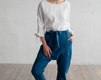 Linen pants. Loose fit womens pants. Washed linen trousers. Natural linen pants, trousers