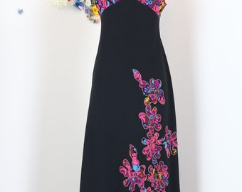 1970s Dress - Novelty Print Maxi Dress - Patchwork Floral Embellished - Black Pink Blue - Groovy Boho Sleeveless Maxi Dress - Size Small