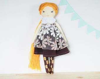Heirloom rag doll, cloth doll, blonde linen doll, keepsake toy, doll with long hair, toddler gift, girl nursery decor, Christmas gift girl