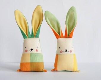Linen toys set for twins, yellow bunny rabbit toys, stuffed animal toys, baby toys, gift newborn, rabbits set, toys set, jumatamade