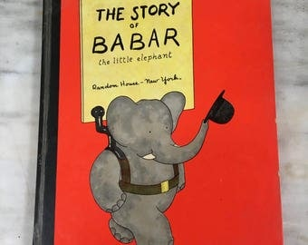 vintage The Story of Babar the Little Elephant book Jean de Brunhoff, Random House New York children's hardback 1960 edition