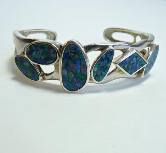 STERLING SILVER CUFF Bracelet ~ Fire Opals Set In Mosaic ~ Six Different Settings ~ Opal .925 Artisan Bracelet ~ October Birthstone