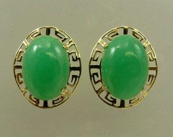 Green 16.0 x 11.8 mm Jade Earrings 14k Yellow Gold