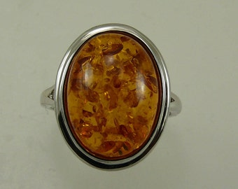 Amber 15.7 x 11.6 mm Ring with Sterling Silver Setting