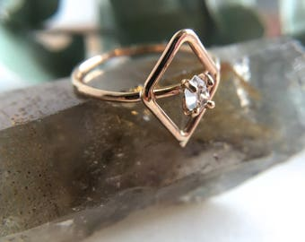 Herkimer Diamond Ring. 14k Goldfill Herkimer Ring. Silver Herkimer Ring. Raw Herkimer Ring. Diamond Ring. OOAK Herkimer. Gifts for Her.