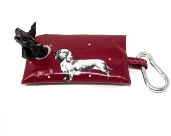 Poop Bag Holder - Dog Poo Bag Dispenser -Poo Bag Holder - Poo Bag Holder - Red Poo Bag Holder - Dachshund - Dog Owner Gift - Sausage Dog
