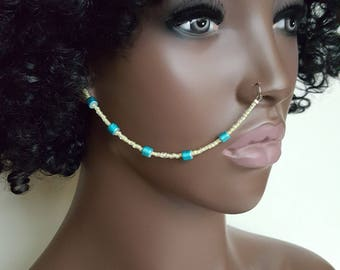 Yellow and Blue Beaded Nose Chain - Nose Chain - Ear To Nose Chain - Face Jewelry - Face Chain - Statement Jewelry - Nose Ring Jewelry