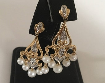 Vintage 14K Yellow Gold Diamond & Pearl Drop Dangle Chandelier Earrings