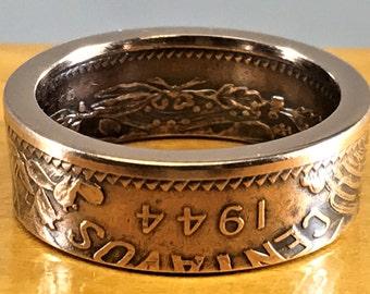 1944 Mexico ESTADOS UNIDOS MEXICANOS 20 Centavos Coin Ring