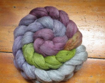 """Dyed strand of wool spinning by hand """"stormy night"""""""