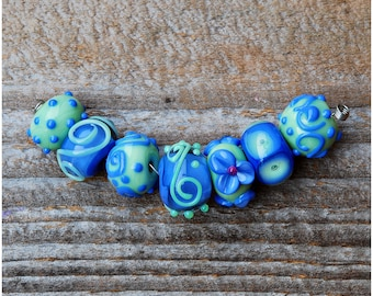 Perwinkle Lampwork Bead Set Handmade Mint Green color Beads Glass Beads SRA murano artisan lampwork flower filigree