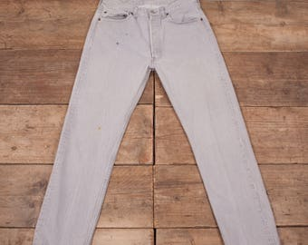 """Mens Vintage Levis 501 Red Tab 1980s Grey Jeans USA 33"""" x 30"""" R7016"""