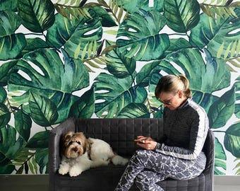 Monstera and Banana Leaves Tropical - Removable Wallpaper - Monstera Self Adhesive Wall Sticker