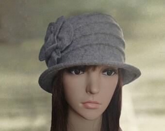 Felt hats for lady, Gray felt hats, Womens felt hats, Felted wool hats, Ladies felted hats, Womens hats trendy, Embellished hats,