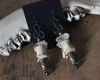 Vertebrae & Brass Assemblage Earrings