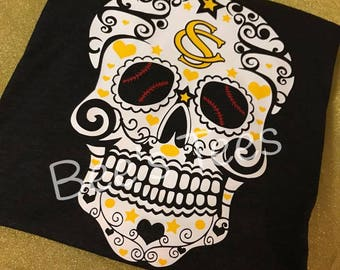Custum Baseball Sugar Skull Tee, XOXO Baseball Tee, Love Baseball, I love Baseball, Baseball MOM, Softball, Softball MOM, Love Softball