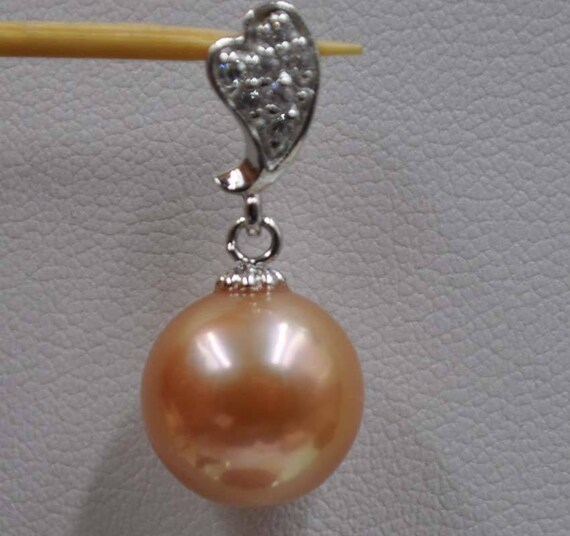 Beautiful Natural  11mm round copper Kasumi pearl pendant