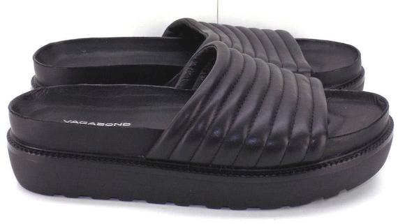 Vagabond Irene Black Leather Platform Slides Sandals Women's 36 US Shoe Size 6