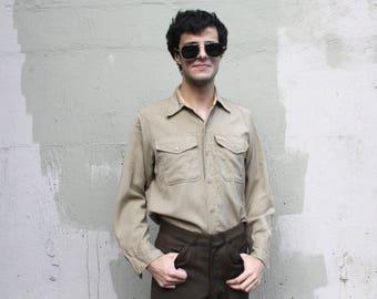Vintage WWII Mens Collared Button Down // 1940's Khaki Military Button Down Work Shirt