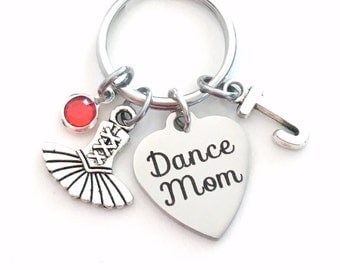 Dance Mom Keychain, Personalized Gift for Dancemom, Tutu Keyring, Ballet Key Chain, initial & birthstone women Mother's Day Present her Mum