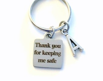 Bus Driver Keychain, Thank you for keeping me safe Gift for School Security Guard Key Chain, Cross Walker, Safety Police Keyring, her mom