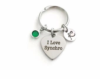 Syncro Key chain, I Love Synchro KeyChain, Gift for Synchronized Swimmer, Swimming Keyring ring Birthstone Initial Personalized team coach