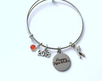 Retirement Gift for Women, 2018 2017 Mom Sister Aunt Grandmother Charm Bracelet Jewelry Silver Bangle Coworker initial birthstone Present